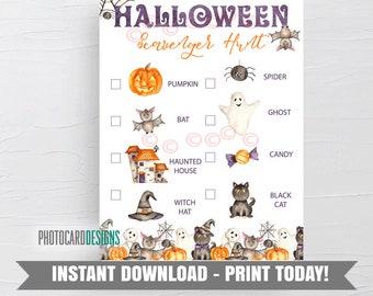 Halloween Scavenger Hunt, Editable Scavenger Hunt List, Kids Halloween Party Game, Halloween Game, Tween Party Game, Digital Download