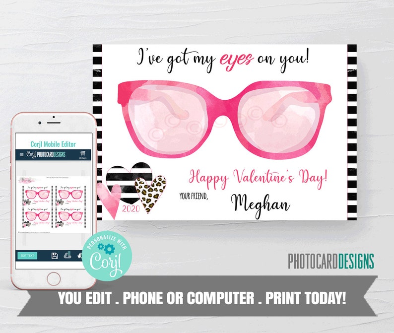 Eyes on You Valentine Glasses Valentines Non Candy image 0