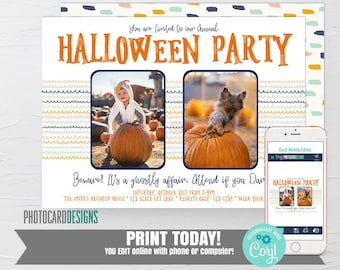 Halloween Party Invitation, Costume Party Invitation, Text Invitation, Kids Halloween Party Invitation, Family Halloween Editable Template