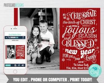Family Christmas Card, Religious Christmas Photo Card, Christmas Card, Christmas Digital File Editable Template Printable Download Corjl #13