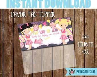 Cheerleader Treat Bag Topper, Cheerleader Tag, Cheerleader Printable, Birthday Tag Topper, Favor Tag, Digital, School, Treat Bag, DOWNLOAD