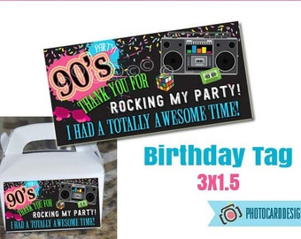 90s Party THANK YoU TAG, Thank You, 90s Birthday Party, 90's Party Printable, 90s, Retro, Digital, Printable, Party,