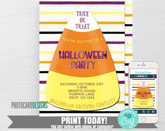 Candy Corn Invitation, Halloween Invitation, Costume Party Invitation, Kids Halloween Party Invitation, Text Invitation Editable Template