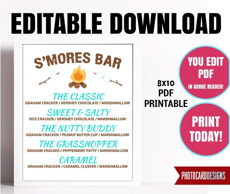 Editable S'mores Bar Sign Smores Bar Menu Make a image 0