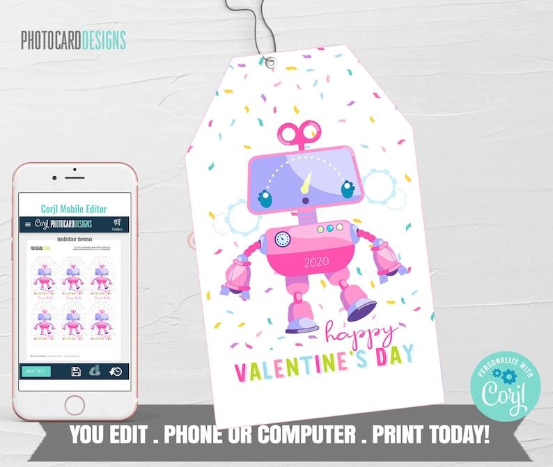 Robot Valentine Robot Valentine Tag Girl Valentines image 0