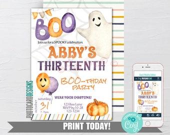 Halloween Birthday Invitation, Costume Party Invitation, Kids Halloween Party Invitation, Text Invitation, Digital Editable Template