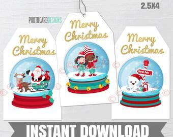 Christmas Globe Tag, Christmas Tag, Christmas Gift Tag, Kids Treat Tag, Elf Tag, Polar Bear Tag, Santa Tag, Digital PDF Printable Download