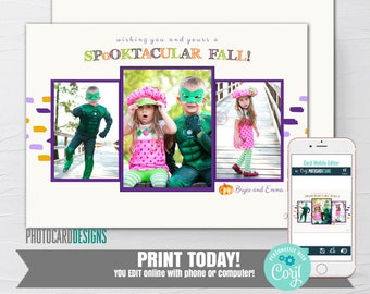 Halloween Family Photo Card Baby 1st Halloween Kids Dogs Costume Printable Pumpkin Patch Corn Maze Digital Ecard Digital Editable Template
