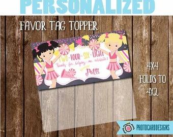 Cheerleader Treat Bag Topper, Cheerleader Printable, Birthday, Favor Tag, Cheerleader, Halloween, Digital, School, Treat Bag, PERSONALIZE