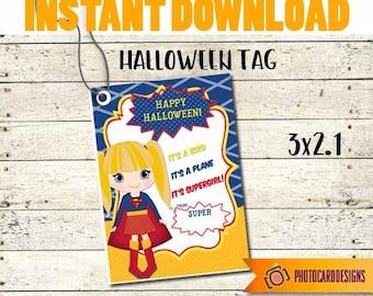 Superhero Halloween Tag, Girl Superhero Tag, Halloween Tag, Superhero tag, School Treat Bag, Kid Halloween Gift Tag, Digital Halloween