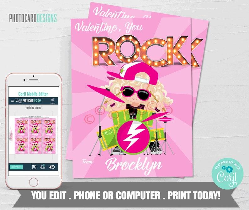 Pop Rocks Valentine Girl Valentines You Rock Valentine image 0