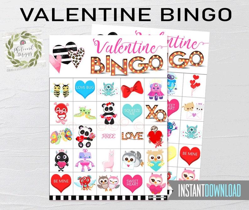 Valentine Bingo Valentine Bingo Printable School Bingo image 0