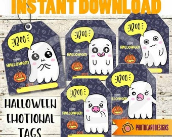 Halloween Treat Tag, Emoji Tag, Halloween Tag, Emoji Ghost, Ghost tag, School, Classroom, Treat Bag, kids, Candy, Digital, INSTaNT DOWNLOAD