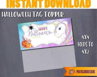 Unicorn Treat Bag Topper, Unicorn Printable, Halloween Tag, Halloween Printable, Unicorn, Halloween, Digital, School, Treat Bag, DOWNLOAD