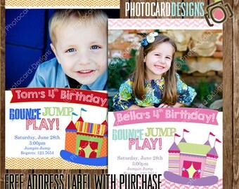 Bounce House Birthday Invitation, Jump Park Invitation, Bounce House, Birthday Invitation, Trampoline Invitation, Photo Invitation, Digital