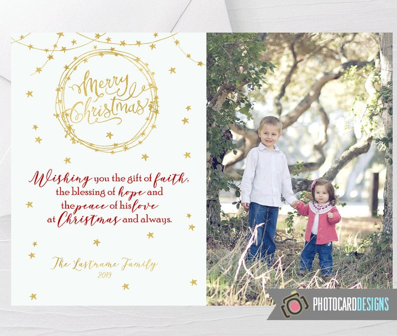 Family Christmas Card Religious Christmas Card Merry image 0