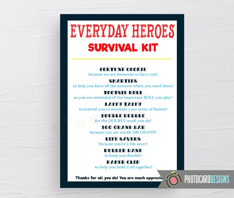 Everyday Heroes SURVIVAL Kit Tag Nurse Survival Kit Doctor image 0