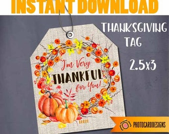 Thanksgiving Tag Thankful fo you Friendsgiving Treat Bag School Classroom Watercolor Pumpkin Wreath Candy Digital, INsTANT DoWNLOAD