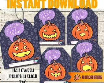 Halloween Treat Tag, Emoji Tag, Halloween Tag, Emoji Pumpkin, Pumpkin tag, School, Classroom, Emoji Pumpkin Halloween Tag, INSTaNT DOWNLOAD