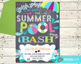 Pool Party Invitation, End of Summer Party, Pool Party Bash, Pool Invitation, Swimming Party, End of Summer, Invitation, Digital, Party