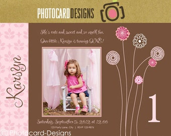 Pink Flower Birthday Photo Invitation Card | Digital | DIY | Print file invite | Print option available | Girl | 1st