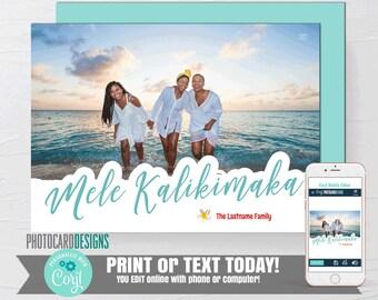 Mele Kalikimaka Card, Mele Kalikimaka Photo Card, Mele Kalikimaka Holiday Card, Hawaii Card, Christmas Card, Text Digital Editable Template