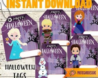 Princess Halloween Tag, Halloween Treat Tag, Frozen Tag, Halloween Tag, Princess Tag, Frozen Halloween, School Class, Digital, Print TODAY!