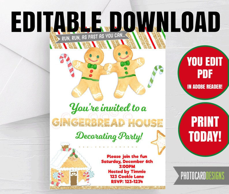 Gingerbread House Decorating Party Invitation Christmas image 0