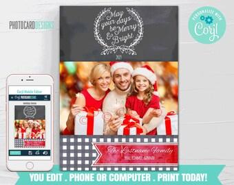 Family Christmas Card, Christmas Photo Card, Christmas Card, Christmas Card Digital File, Editable Template Printable Download Corjl #04