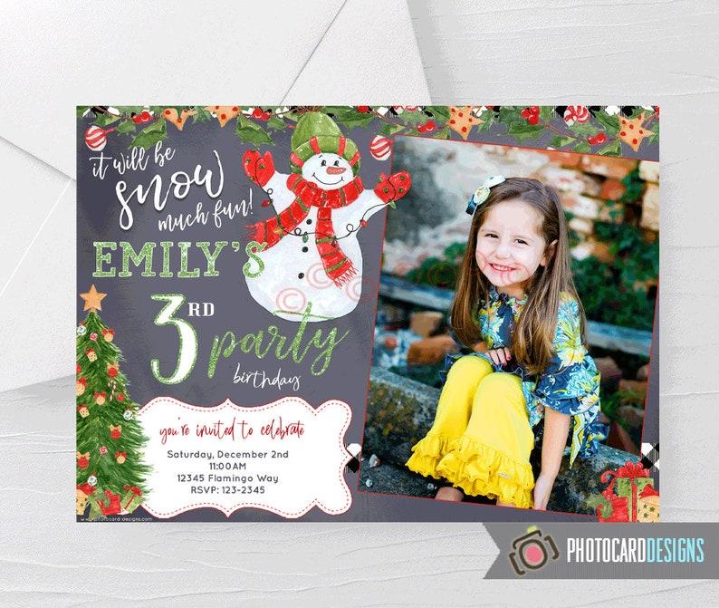 Snowman Birthday Photo Invitation Christmas Party Winter image 0