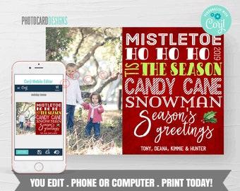 Family Christmas Card, Christmas Photo Card, Christmas Card, 1 Photo Holiday Card, Typography, Editable Template Printable Download #05