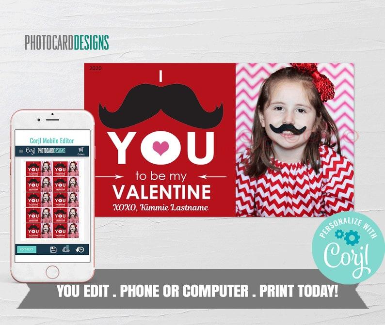 Mustache Valentine Photo Valentine Card I Mustache YOU to be image 0