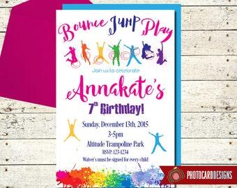 Trampoline Birthday Invitation, Bounce Party, Bounce House, Jump Park, Party, Trampoline Park, Jump, Card, Printable, Digital, file, invite
