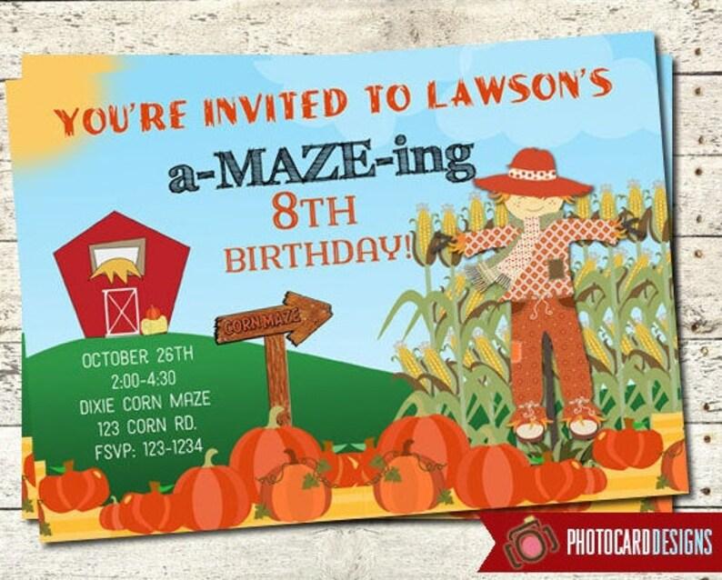 A  MAZE  ing Corn Maze Birthday Invitation HALLOWEEN image 0