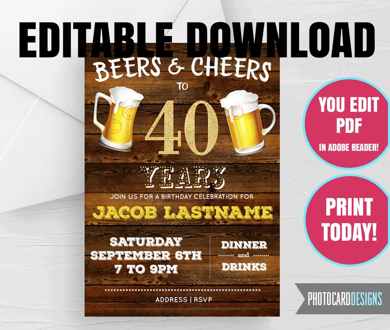 40th EDITABLE Invitation Beers and Cheers Birthday image 0