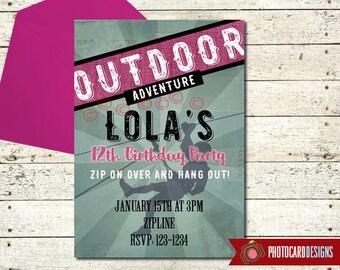Zipline Birthday Invitation | Zipline Party | Zipline invitation | Outdoor Adventure Birthday | Climbing | Digital | Birthday | Sport Party