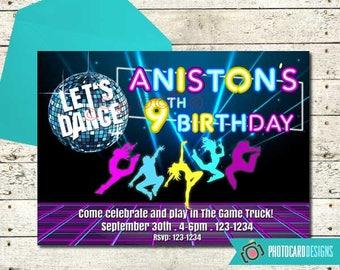 Dance Birthday Invitation, Let's Dance Party, Dance Invitation, Music Party, Digital, Neon Party, Disco Party, Party, Invitation, Invite