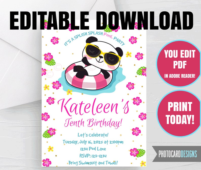 EDITABLE Pool Party Invitation Pool Party Printable Panda image 0