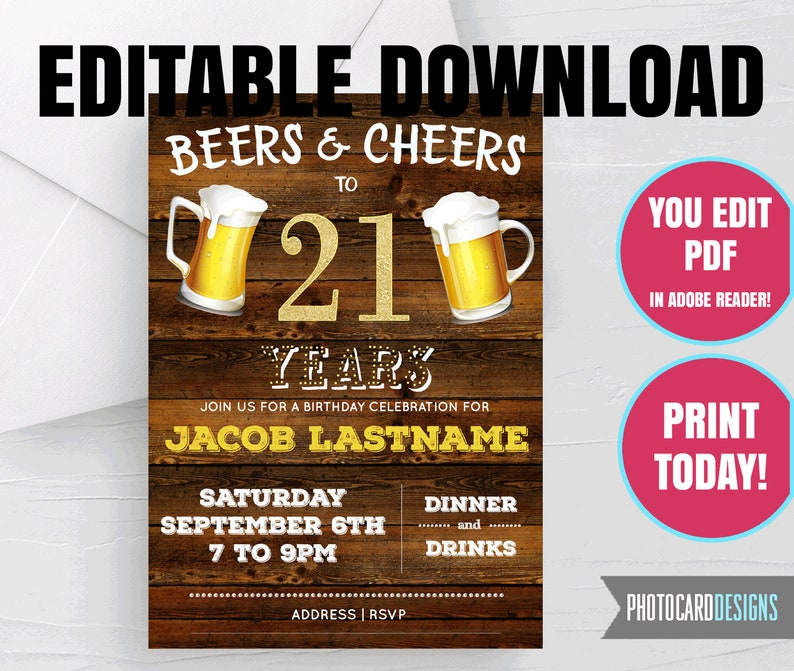 21st EDITABLE Invitation Beers and Cheers Birthday image 0
