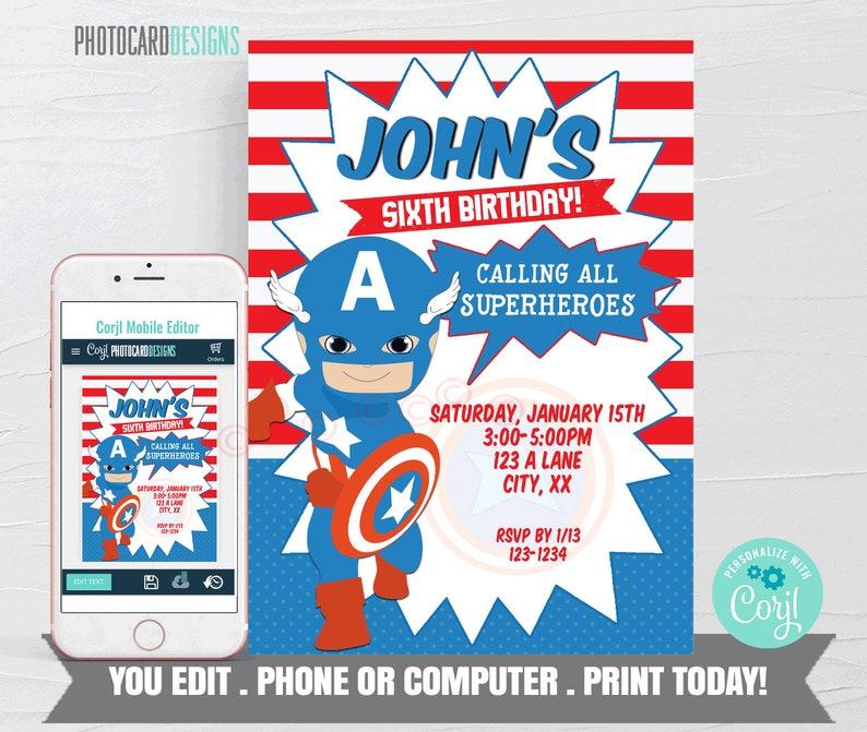 SuperHero Invitation Super Hero Invitation Captain America image 0