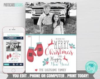 Family Christmas Card, Christmas Photo Card, Christmas Card, Christmas Card Digital File, Editable Template Printable Download Corjl #03