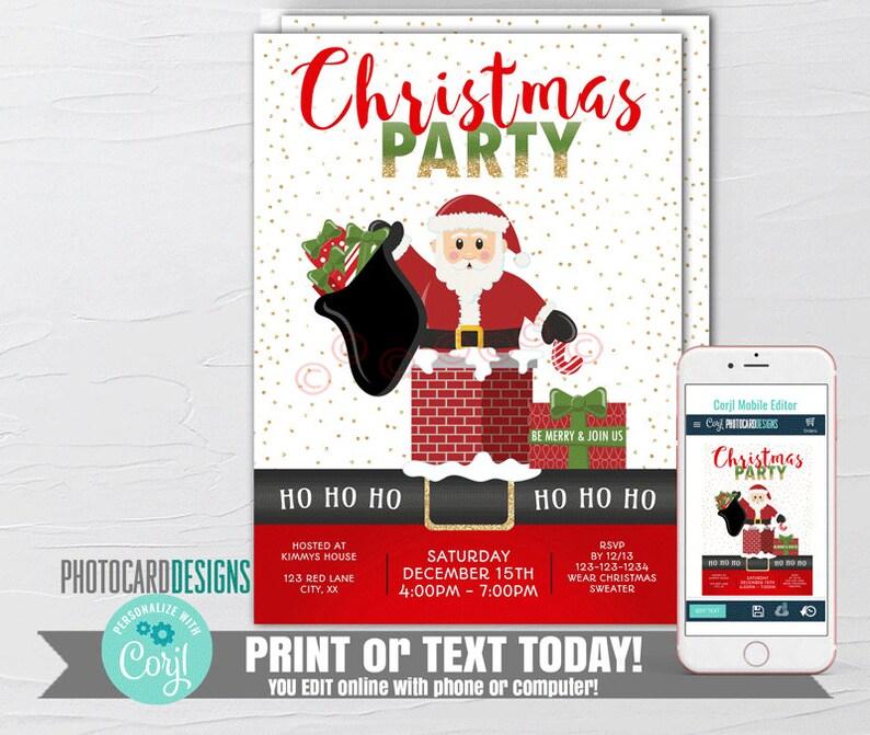 Santa Invitation Santa Christmas Party Invitation Kids image 0
