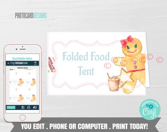 Gingerbread Food Tent, Gingerbread Party Printable, Food Label, Gingerbread Decoration Christmas Birthday Digital Editable Template Download