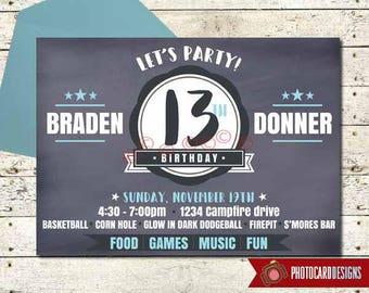 Teen Birthday Invitation | Backyard Bonfire Party | Firepit Birthday Invitation | Digital | Teenager Invitation | Party | Invitation, Invite