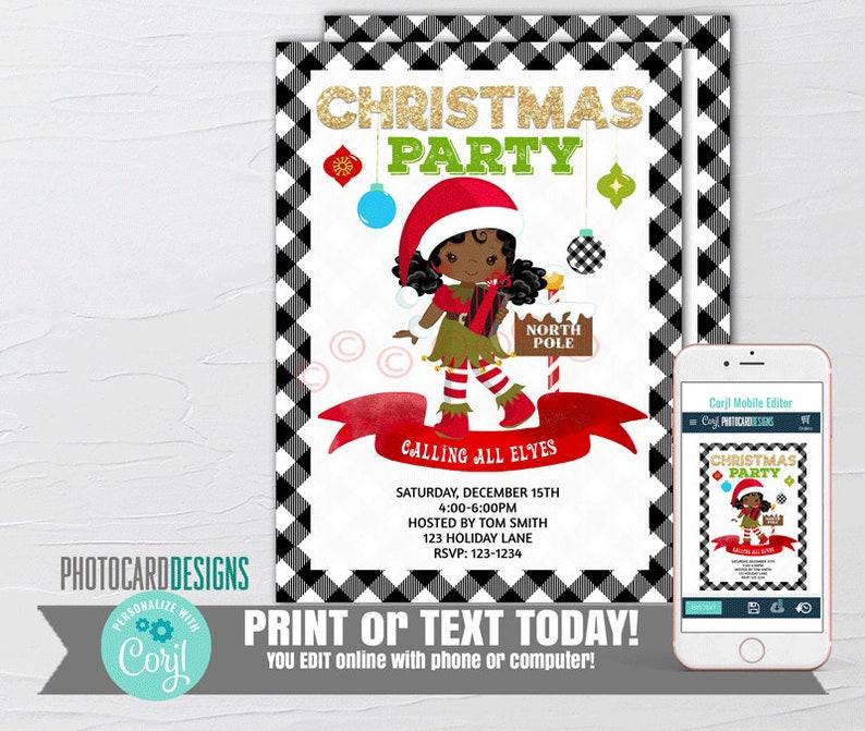 Elf Invitation Elf Christmas Party Invitation Elf Party image 0