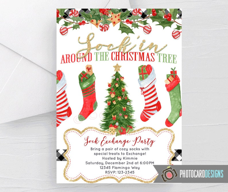 Sock Exchange Christmas Invitation Kid Party Gift Swap image 0
