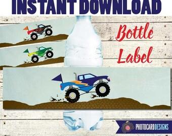 Monster Truck Bottle Label, Monster Truck Party, Monster Truck label, Water Bottle Printable, Party, Digital, Printable, INSTAnT DoWNLOAD