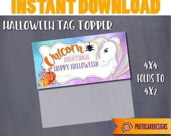 Unicorn Treat Bag Topper, Unicorn Droppings Tag, Halloween Tag, Halloween Printable, Unicorn, Pony Halloween Digital School DOWNLOAD