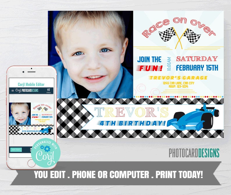 Race Car Invitation Race Car Birthday Invitation Race Car image 0
