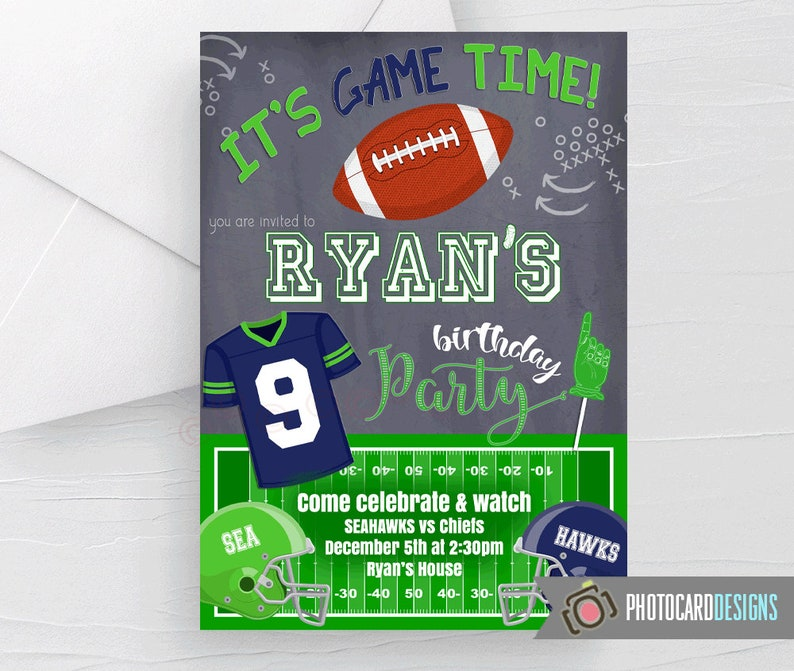 Seahawks Invitation Football Birthday Invitation Seattle image 0